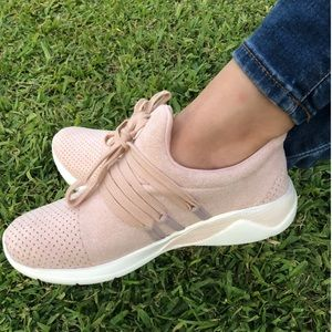 Shoes - Mauve Laced Athleisure Slip On Sneakers